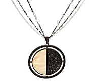 2.00 ct tw Black Spinel & Mother of Pearl Sterling Pendant w/Chain - J282396
