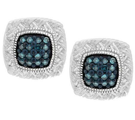 Pave' Color Braided Diamond Studs, Sterl, 1/5 cttw Affinity