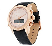 Bronze Dual Time Digital Leather Strap Watch by Bronzo Italia - J289096