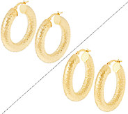 VicenzaGold 1-1/4 Round or Oval Diamond Cut Tube Hoop Earrings, 14K - J289496