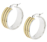 Stainless Steel Sparkle and Polished Hoop Earring - J289896