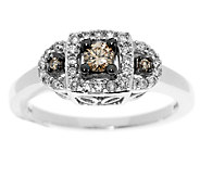 Argyle Diamond 1/3 cttw 3-Stone Halo Ring 14K Gold - J291296