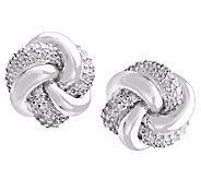 Diamonique Pave Swirl Button Earrings, Sterling - J295096
