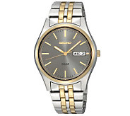 Seiko Mens Solar Two-Tone Bracelet Watch withCharcoal Dial - J297396