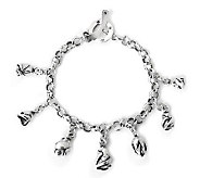 Novica Artisan Crafted Sterling Rosebuds Charm Bracelet - J307696