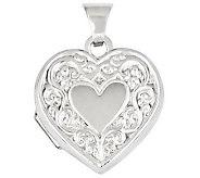 Scroll Heart Locket, 14K Gold - J309096