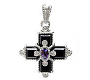 Judith Ripka Sterling Onyx, Amethyst & Diamonique Enhancer - J311996