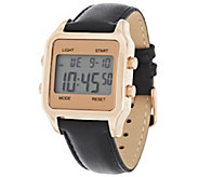 Bronzo Italia Bold Digital Cushion Dial Leather Strap Watch - J317596