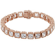 Judith Ripka Sterl &14K Rose Gold 6-3/4 Diamonique Tennis Bracelet - J318496
