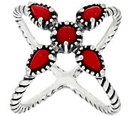 Carolyn Pollack Sterling Silver Red Coral X Ring - J325196