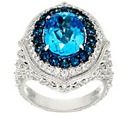 Judith Ripka Sterling_7.50 cttw Blue Topaz & Diamonique Ring - J327396