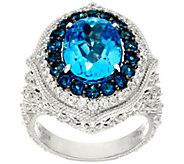 Judith Ripka Sterling_7.50 cttw Blue Topaz & Diamonique Ring - J327396