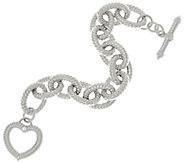 Judith Ripka 7-1/4 Sterling Verona Heart Clasp Bracelet 54.2g - J328696