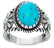Sterling Silver & Oval Gemstone Ring w/Flower Accents by American West - J330496