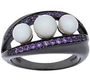 As Is Honora Cultured Pearl 5.0mm and Gemstone Sterl. Band Ring - J330896