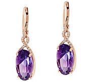 Uruguayan Amethyst & Diamond Drop Earrings, 14K 7.50 cttw - J330996
