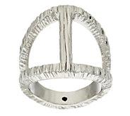 As Is Italian Silver Sterling Elongated Diamond Cut Status Ring - J332196