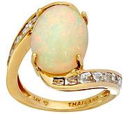 Ethiopian Opal & Baguette White Zircon Ring, 14K Gold 3.75 cttw - J346796