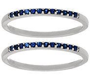 As Is Set of 2 Blue Sapphire Band Rings, 14K Gold 0.20 cttw - J346996