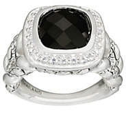 As Is JAI Sterling Cushion Cut Black Onyx Croco Ring - J347196