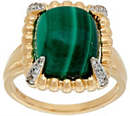 Elongated Cushion Gemstone & White Zircon Ring, 14K Gold - J347496