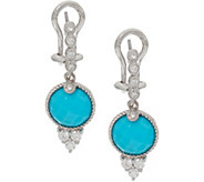 Judith Ripka Sterling Silver Turquoise & Diamonique Drop Earrings - J347896