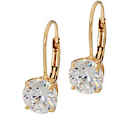 Diamonique 2.00 cttw Round Leverback Earrings, 14K Gold - J348596