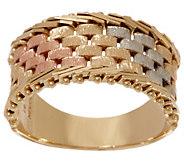 Imperial Gold Tri-Color Basketweave Band Ring, 14K Gold - J352296