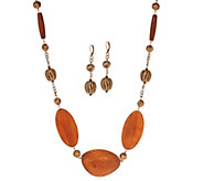 Linea by Louis DellOlio Multi-Shaped Wood Bead Necklace Set - J353996