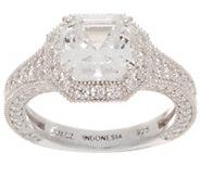 Diamonique Asscher Cut Halo Ring Sterling - J354296