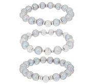 Honora Cultured Pearl Stretch Bracelet Set Sterling - J355096