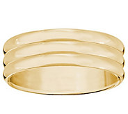 Mens 14K Yellow Gold 6mm Triple Ribbed WeddingBand - J376696