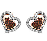 Diamond Heart Post Earrings, 1/10 cttw, 14K, byAffinity - J376996