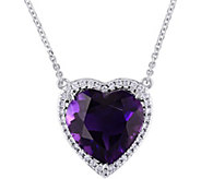 14K 5.35 ct Amethyst & 1/6 cttw Diamond Heart Halo Necklace - J377796