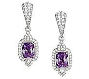 Judith Ripka Sterling Amethyst & Diamonique Earrings - J377896
