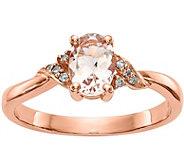 14K Diamond & Morganite Twisted Ring - J378296