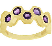 14K Gold Gemstone Honeycomb Band Ring - J379496