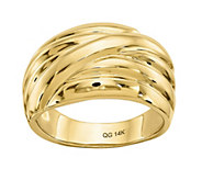 14K Gold Ribbed Crossover Dome Ring - J382096