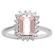 14K Gold 1.20 cttw Emerald-Cut Morganite Halo Ring - J382596