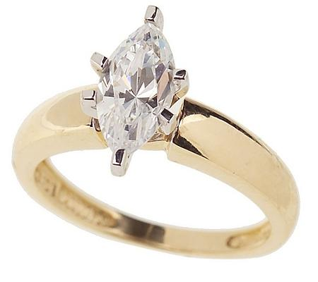 diamonique 1 ct marquise solitaire ring 14k gold qvc