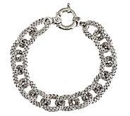Vicenza Silver Sterling 7-1/4 Woven Design Rolo Link Bracelet, 20.3g - J275397