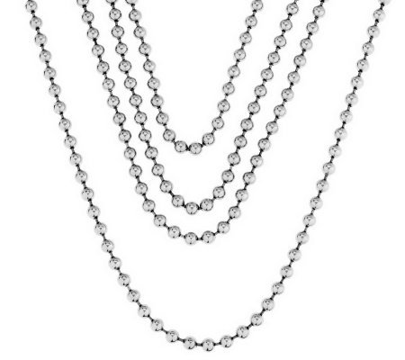 "Steel by Design 100"" Length Bead Necklace"
