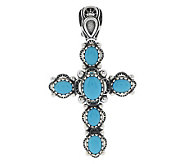 Sleeping Beauty Turquoise Sterling Cross Enhancer by American West - J282997