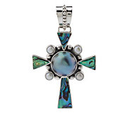 As Is Artisan Crafted Sterling Cultured Pearl & Abalone Cross - J283497