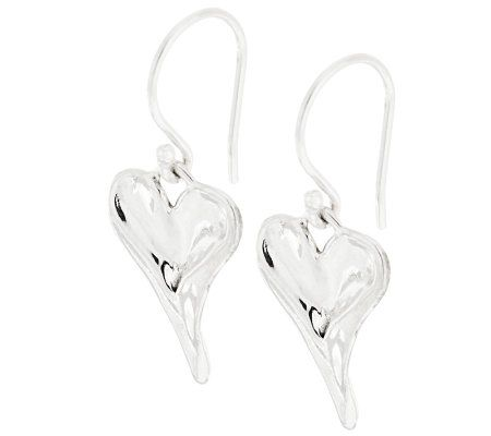 Hagit Sterling Sculpted Polished Heart Drop Earrings