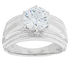 Epiphany Diamonique 2.00 ct Solitaire Wide Band Ring
