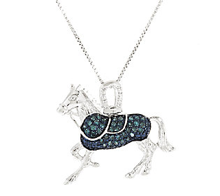 Product image of Blue Horse Diamond Pendant Sterling, 1/4 cttw by Affinity