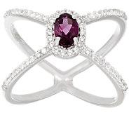 Graziela Gems Gemstone & White Zircon X-Design Sterling Ring - J293997