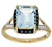 Aquamarine Emerald Cut & 1/5cttw Diamond Ring, 14K Gold 2.30 ct - J294197