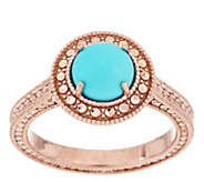 Sleeping Beauty Turquoise Diamond Cut Sterling Ring - J294497